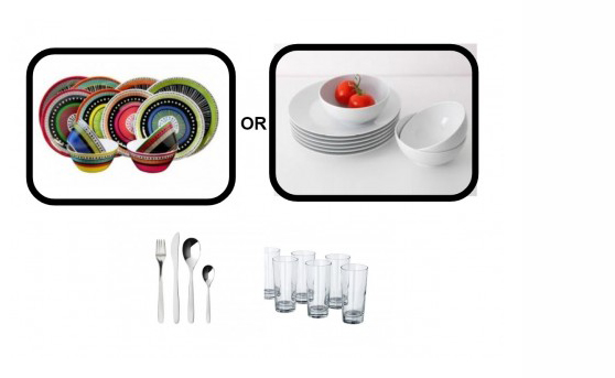 Inhabitr Basic Dining Set 4