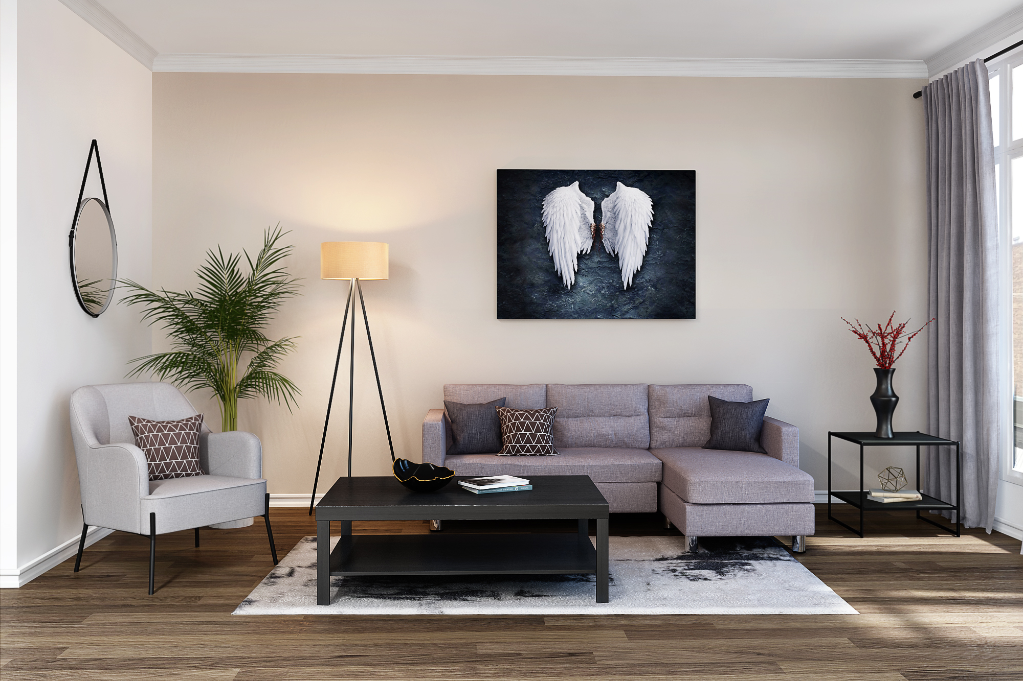 Grayland Living Room Rental Furniture Set 3