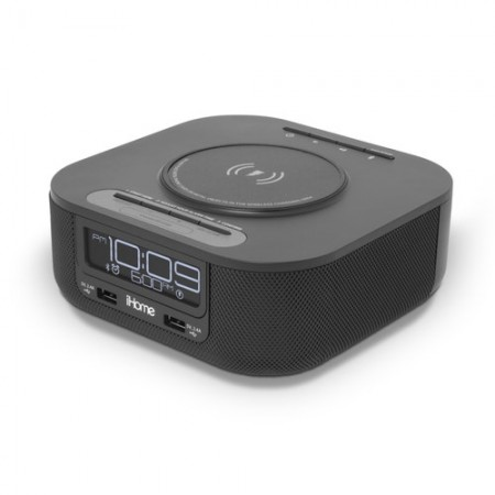 iHome Qi Wireless Charging Bluetooth Bedside Stereo Speaker Alarm Clock
